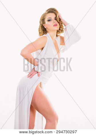 Woman Elegant Lady With Retro Hairstyle And Makeup Posing In White Dress. Sexy Vintage Fashionable D