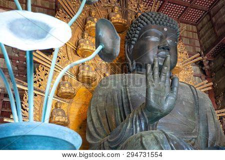 Nara, Japan - April 19, 2018:  The Great Buddah Statue Of The Todaiji Temple