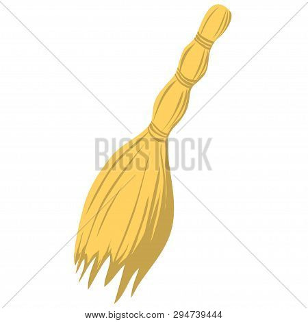 Cartoon Illustration With Besom Isolated On White Background. Household Equipment. Cleaning Service