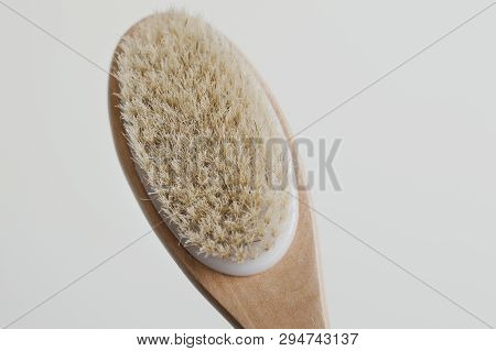 Wooden Brush With Natural Bristle For Body Massage. Cellulite Treatment Tool