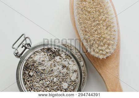 Brush For Anticellulite Body Massage And Lavender Scrub. Spa Treatment. Body Care