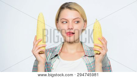 Size Concept. Healthy Teeth. Farming, Farmer Girl With Maize. Corn Crop. Vitamin And Dieting Food. A