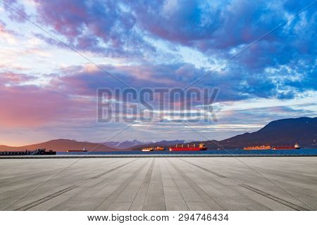 empty parking lot  with bay background at vancouver