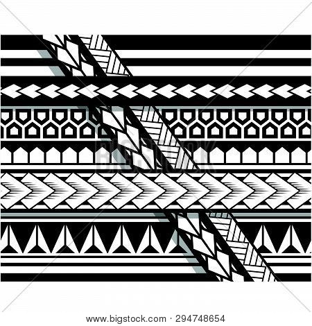 Polynesian tattoo sleeve pattern vector, samoan sketch forearm and foot design, maori stencil bracelet armband tattoo tribal, lace band fabric template seamless ornament poster