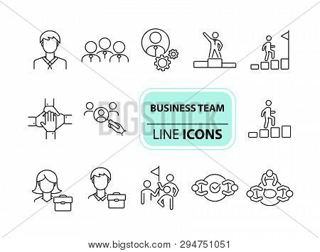 Business Team Icons. Line Icons Collection On White Background. Meeting, Cooperation, Support. Compa
