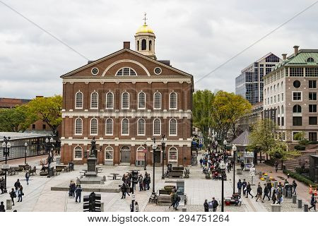 Boston, Ma, Usa - October 28: The Georgian-style Faneuil Hall At The Quincy Market In Boston, Massac