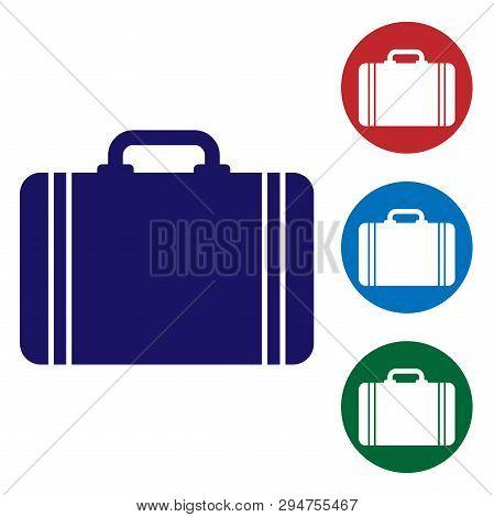 Blue Suitcase For Travel Icon Isolated On White Background. Traveling Baggage Sign. Travel Luggage I