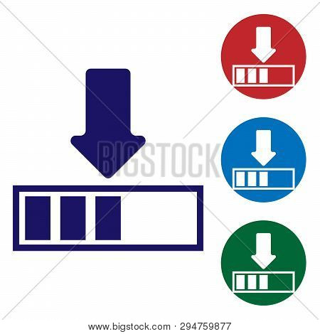 Blue Loading Icon Isolated On White Background. Download In Progress. Progress Bar Icon. Set Color I