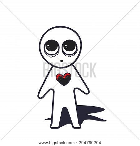 Doodle Cartoon Figure A Man With Hole Insted Hert Miss You, Love You And And Cry. Vector Illustratio