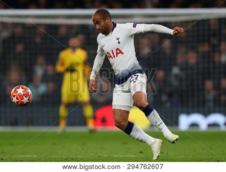 LONDON, ENGLAND: 09 MAR 2019. Lucas of Tottenham during the UEFA Champions League Quarter Final, First Leg match