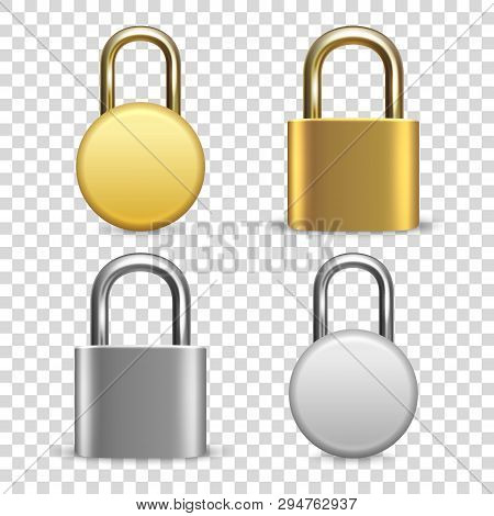 Vector 3d Realistic Closed Metal Golden And Silver Padlock Icon Set Closeup Isolated On Transparent