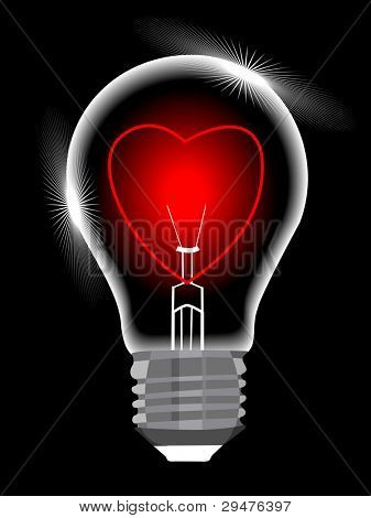 light bulb with heart against black background, abstract vector art illustration for valentines Day and other occasions.
