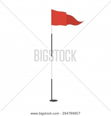 Red Triangular Golf Flag In The Hole Icon. Golf Equipment Or Accessory. Template Design For Sport Co