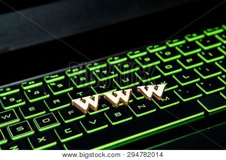 Text Www From Wooden Letters On The Keyboard With A Green Backlight