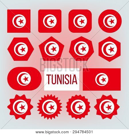 Tunisia Various Shapes Vector National Flags Set. Republic Of Tunisia Official Emblems Icons Collect