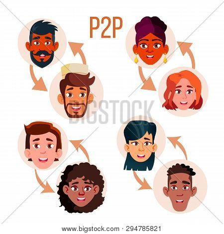 Peer To Peer Social Networking Vector Poster Template. Peer To Peer Web Banner Layout. P2p System Sc