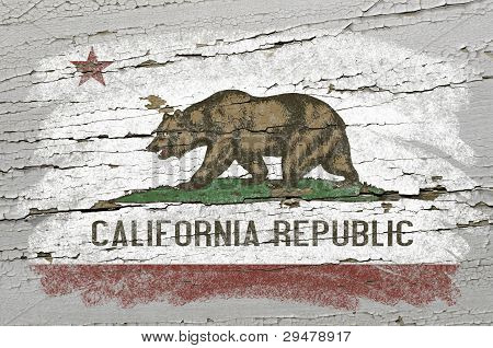 Flag Of Us State Of California On Grunge Wooden Texture Precise Painted With Chalk