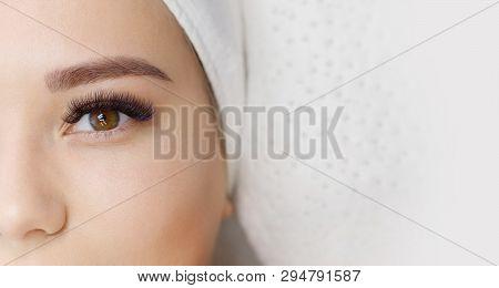 Eyelash Extension Procedure. Beautiful Woman With Long Eyelashes. Facial Treatment. Cosmetology, Bea