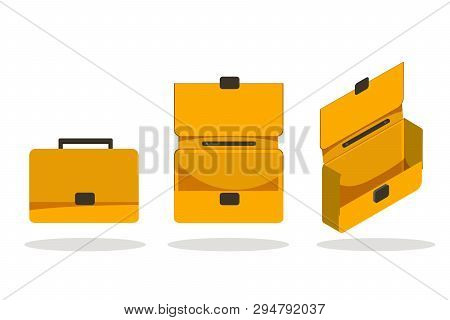 Open And Closed Briefcase Set On White Background. Isolated Isometric Flat Vector Illustration