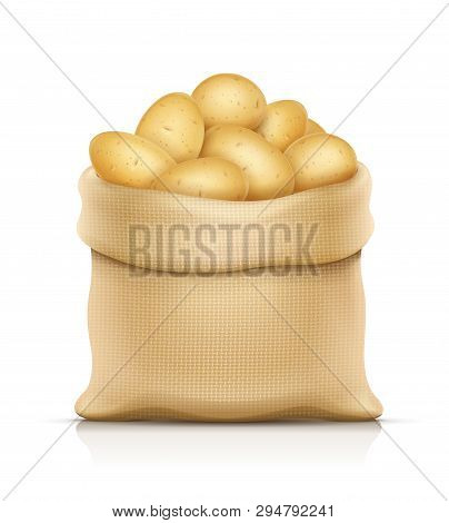 Burlap Sack With Potatos. Housekeeping And Agriculture Equipment. Open Hessian Bag For Potato. Food