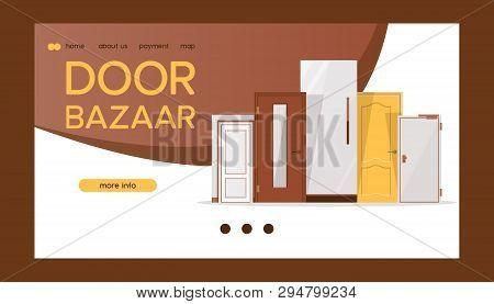 Front Door Bazaar For Houses And Buildings Banner Web Design Vector Illustration. Interior Wooden, G