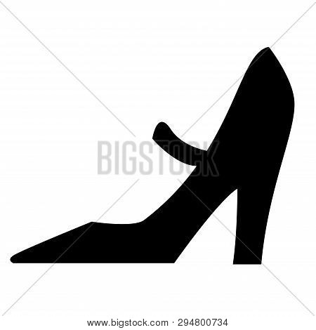 Black Isolated Icon Of Elegant Classic Shoe With High Heel For Women On White Background. Silhouette
