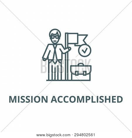 Accomplished Business Mission  Line Icon, Vector. Accomplished Business Mission  Outline Sign, Conce