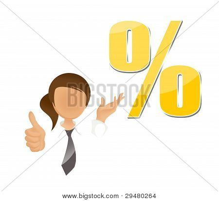 Young woman with percentage sign