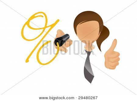 woman drawing percentage sign