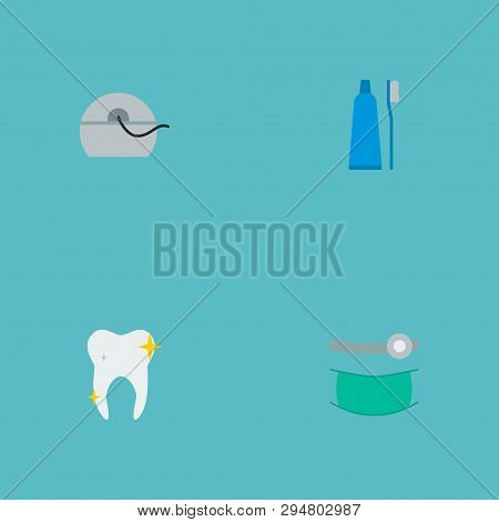 Set Of Dental Icons Flat Style Symbols With Orthodontist, Floss, Toothpaste And Other Icons For Your