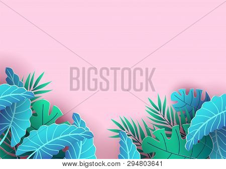 Summer Background Design With Tropical Elements. Pink Background And Leaves For Sale Banner, Poster