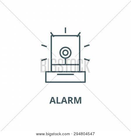 Alarm, Light, Industry Line Icon, Vector. Alarm, Light, Industry Outline Sign, Concept Symbol, Flat