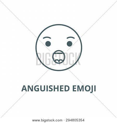 Anguished Emoji Line Icon, Vector. Anguished Emoji Outline Sign, Concept Symbol, Flat Illustration