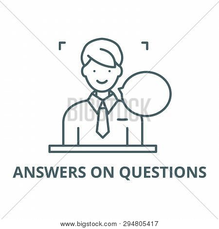 Answers On Questions Line Icon, Vector. Answers On Questions Outline Sign, Concept Symbol, Flat Illu