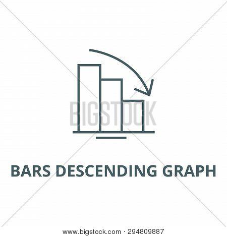 Bars Descending Graph Line Icon, Vector. Bars Descending Graph Outline Sign, Concept Symbol, Flat Il