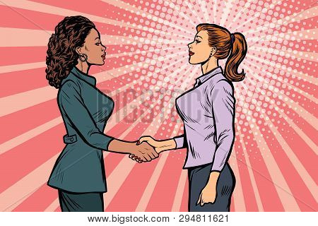 Two Businesswomen Shaking Hands. Pop Art Retro Vector Illustration Vintage Kitsch 50s 60s