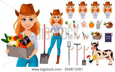 Young Pretty Farmer Woman In Cowboy Hat. Cheerful Gardener Woman Cartoon Character. Pack Of Body Par