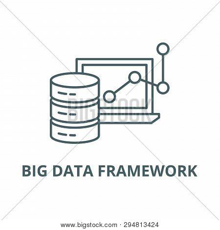 Big Data Framework Line Icon, Vector. Big Data Framework Outline Sign, Concept Symbol, Flat Illustra