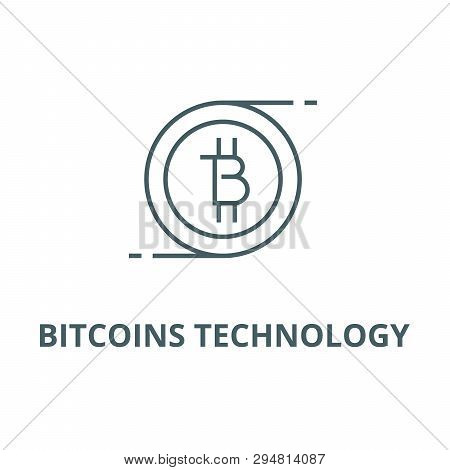 Bitcoins Technology Line Icon, Vector. Bitcoins Technology Outline Sign, Concept Symbol, Flat Illust