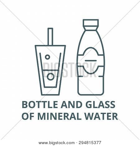 Bottle And Glass Of Mineral Water Line Icon, Vector. Bottle And Glass Of Mineral Water Outline Sign,
