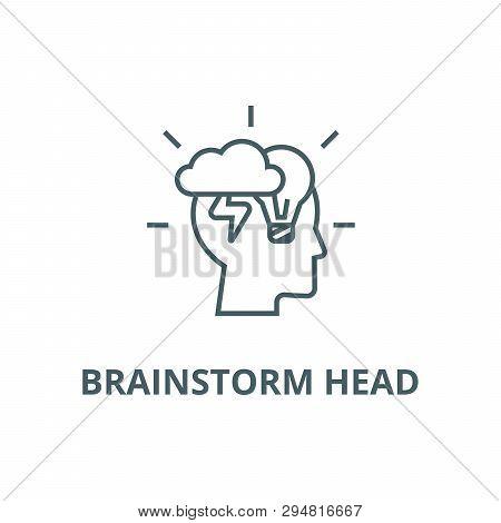 Brainstorm Head Line Icon, Vector. Brainstorm Head Outline Sign, Concept Symbol, Flat Illustration