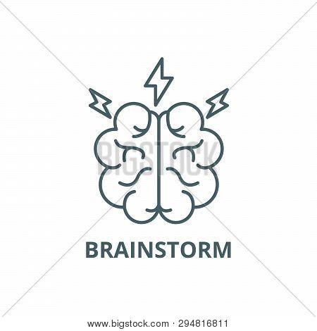 Brainstorm Line Icon, Vector. Brainstorm Outline Sign, Concept Symbol, Flat Illustration