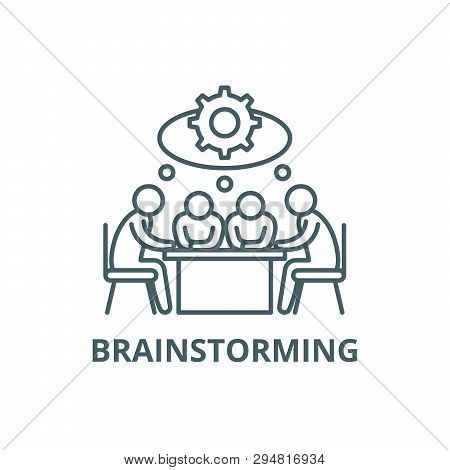 Brainstorming Line Icon, Vector. Brainstorming Outline Sign, Concept Symbol, Flat Illustration