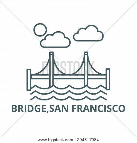 Bridge, San Francisco Line Icon, Vector. Bridge, San Francisco Outline Sign, Concept Symbol, Flat Il