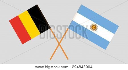 Argentina And Belgium. The Argentinean And  Belgian Flags. Official Colors. Correct Proportion. Vect