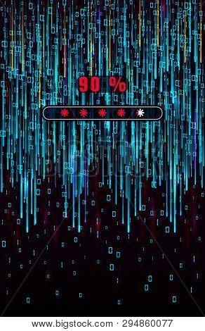 Digital Binary Code. Matrix Background. Falling Blue Digits On Screen With Data Loading Bar. Abstrac
