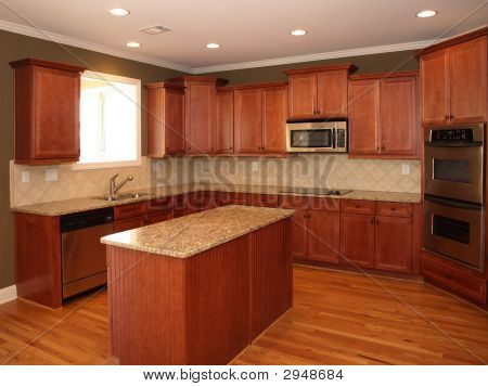 Luxury Cherry Wood Kitchen With Island