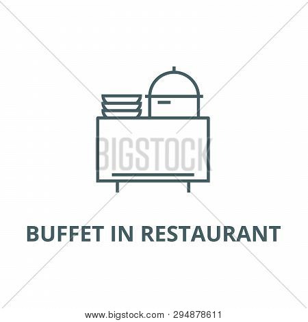 Buffet In Restaurant Line Icon, Vector. Buffet In Restaurant Outline Sign, Concept Symbol, Flat Illu