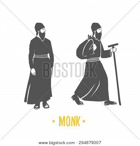 Monk. Faith. Christianity. Orthodoxy. Black And White Vector Objects