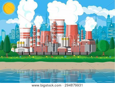 Factory Building. Industrial Factory, Power Plant. Pipes, Buildings, Warehouse, Storage Tank. Citysc